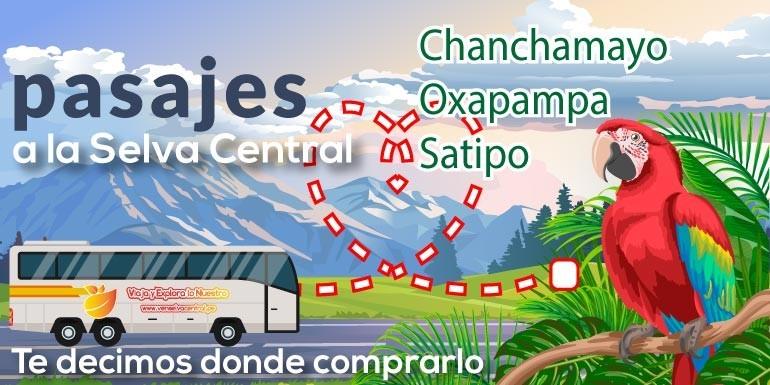 Pasajes a la Selva Central: Chanchamayo, Oxapampa, Villa Rica, Pichanaki, Satipo y mas destinos